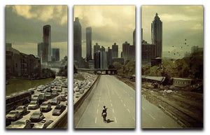 Rick Riding Into Atlanta City The Walking Dead 3 Split Canvas Print - Canvas Art Rocks