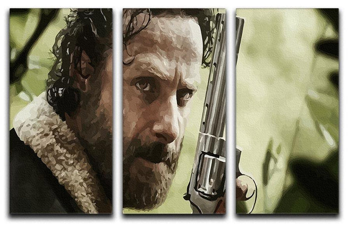 Rick With Gun The Walking Dead 3 Split Panel Canvas Print