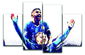 Rihad Mahrez and Jamie Vardy 4 Split Panel Canvas  - Canvas Art Rocks - 1
