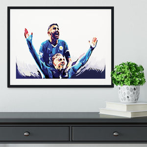 Rihad Mahrez and Jamie Vardy Framed Print - Canvas Art Rocks - 1