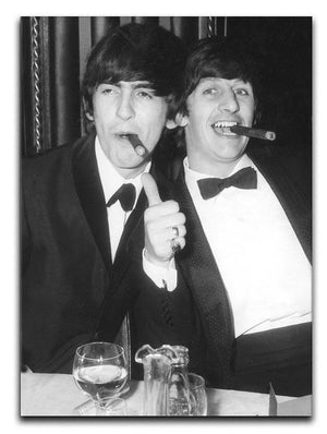 Ringo Starr and George Harrison smoking cigars Canvas Print or Poster  - Canvas Art Rocks - 1