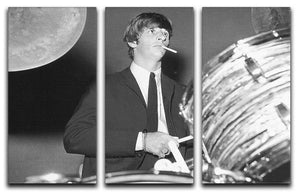 Ringo Starr playing the drums 3 Split Panel Canvas Print - Canvas Art Rocks - 1