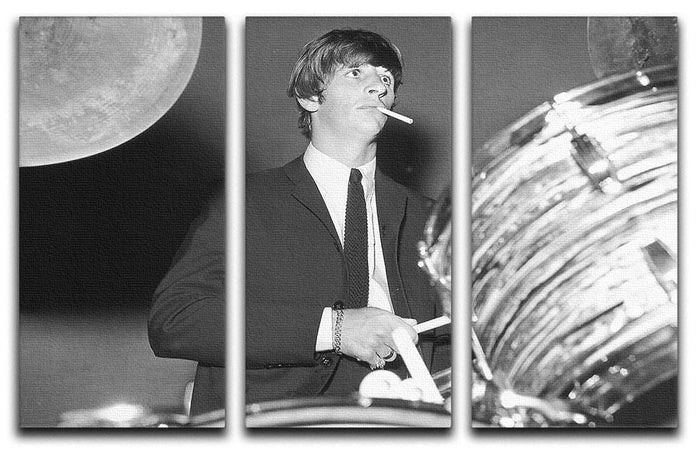 Ringo Starr playing the drums 3 Split Panel Canvas Print