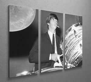 Ringo Starr playing the drums 3 Split Panel Canvas Print - Canvas Art Rocks - 2