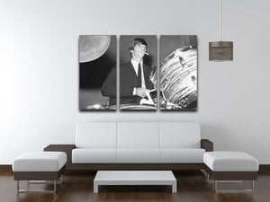 Ringo Starr playing the drums 3 Split Panel Canvas Print - Canvas Art Rocks - 3