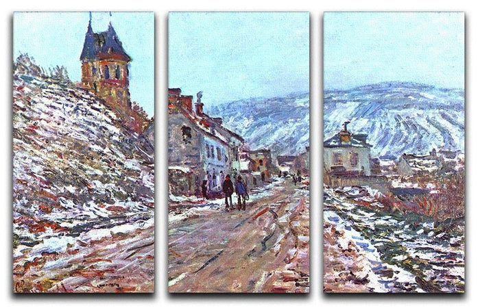 Road to Vetheuil in winter by Monet Split Panel Canvas Print