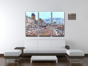 Road to Vetheuil in winter by Monet Split Panel Canvas Print - Canvas Art Rocks - 4