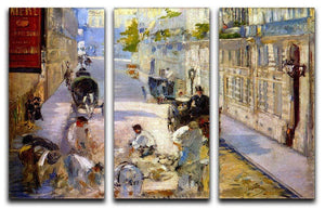 Road workers rue de Berne by Manet 3 Split Panel Canvas Print - Canvas Art Rocks - 1
