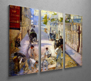 Road workers rue de Berne by Manet 3 Split Panel Canvas Print - Canvas Art Rocks - 2