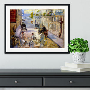 Road workers rue de Berne by Manet Framed Print - Canvas Art Rocks - 1