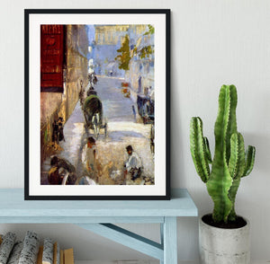 Road workers rue de Berne detail by Manet Framed Print - Canvas Art Rocks - 1