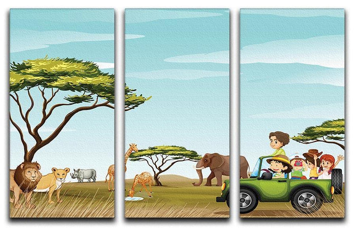 Roadtrip in the field full of animals 3 Split Panel Canvas Print