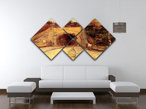 Roadway with Underpass The Viaduct by Van Gogh 4 Square Multi Panel Canvas - Canvas Art Rocks - 3