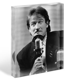 Robin Williams at the microphone Acrylic Block - Canvas Art Rocks - 1