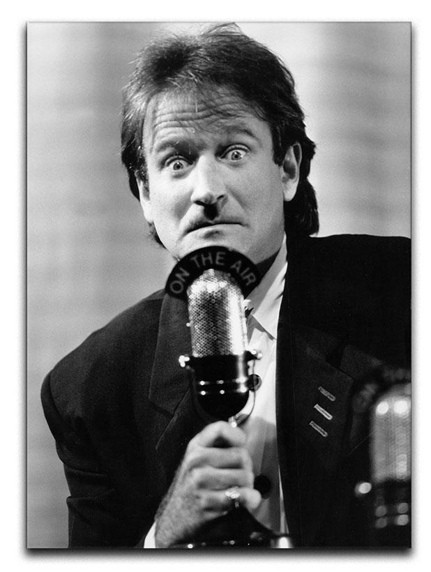 Robin Williams at the microphone Canvas Print or Poster