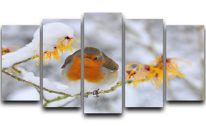 Robin in the Snow 5 Split Panel Canvas - Canvas Art Rocks - 1