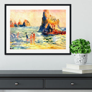 Rock cliffs in Guernsey by Renoir Framed Print - Canvas Art Rocks - 1