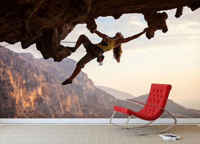 Rock climber at sunset Wall Mural Wallpaper - Canvas Art Rocks - 1