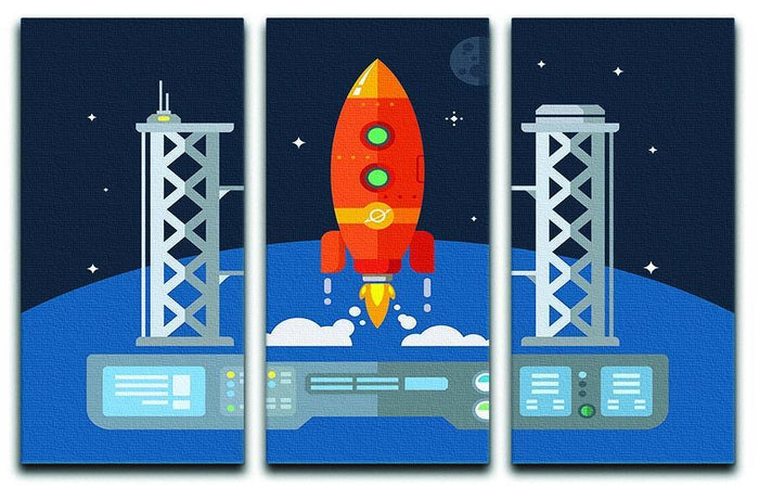 Rocket Startup Flat Desing Concept 3 Split Panel Canvas Print