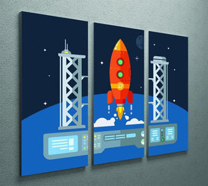 Rocket Startup Flat Desing Concept 3 Split Panel Canvas Print - Canvas Art Rocks - 2
