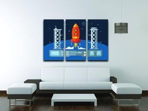 Rocket Startup Flat Desing Concept 3 Split Panel Canvas Print - Canvas Art Rocks - 3