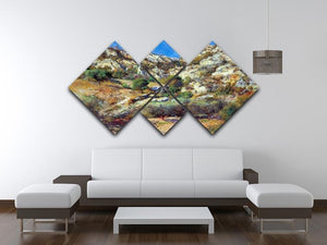 Rocks at LEstage by Renoir 4 Square Multi Panel Canvas - Canvas Art Rocks - 3