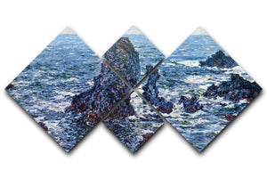 Rocks on Belle Ile The needles of Port Coton by Monet 4 Square Multi Panel Canvas  - Canvas Art Rocks - 1