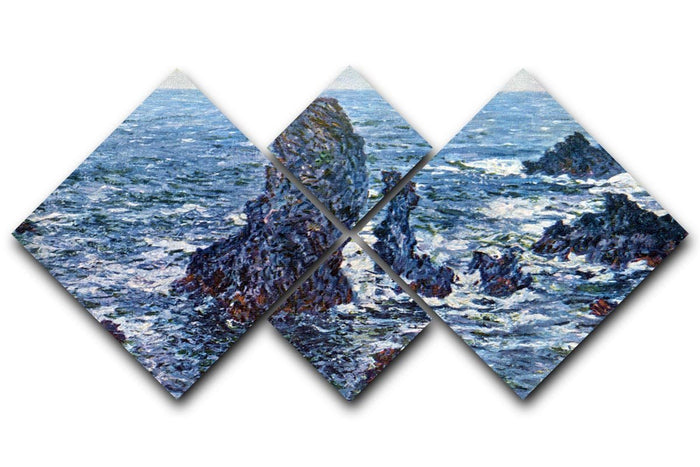 Rocks on Belle Ile The needles of Port Coton by Monet 4 Square Multi Panel Canvas