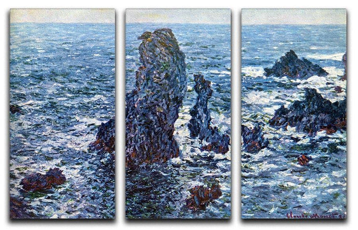 Rocks on Belle Ile The needles of Port Coton by Monet Split Panel Canvas Print