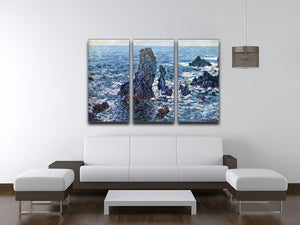 Rocks on Belle Ile The needles of Port Coton by Monet Split Panel Canvas Print - Canvas Art Rocks - 4
