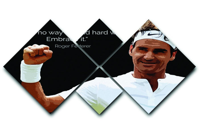 Roger Federer Hard Work 4 Square Multi Panel Canvas