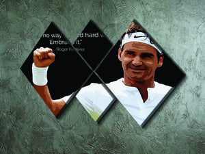 Roger Federer Hard Work 4 Square Multi Panel Canvas - Canvas Art Rocks - 2