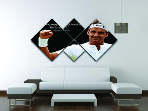 Roger Federer Hard Work 4 Square Multi Panel Canvas - Canvas Art Rocks - 3