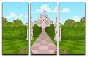 Romantic Castle Landscape 3 Split Panel Canvas Print - Canvas Art Rocks - 1
