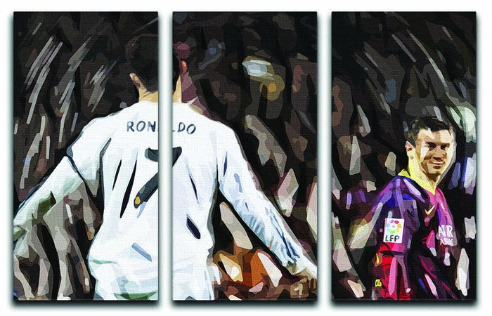Ronaldo Vs Messi 3 Split Panel Canvas Print