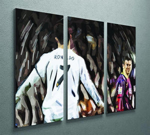 Ronaldo Vs Messi 3 Split Panel Canvas Print - Canvas Art Rocks - 2