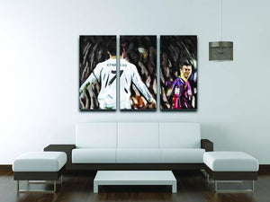 Ronaldo Vs Messi 3 Split Panel Canvas Print - Canvas Art Rocks - 3