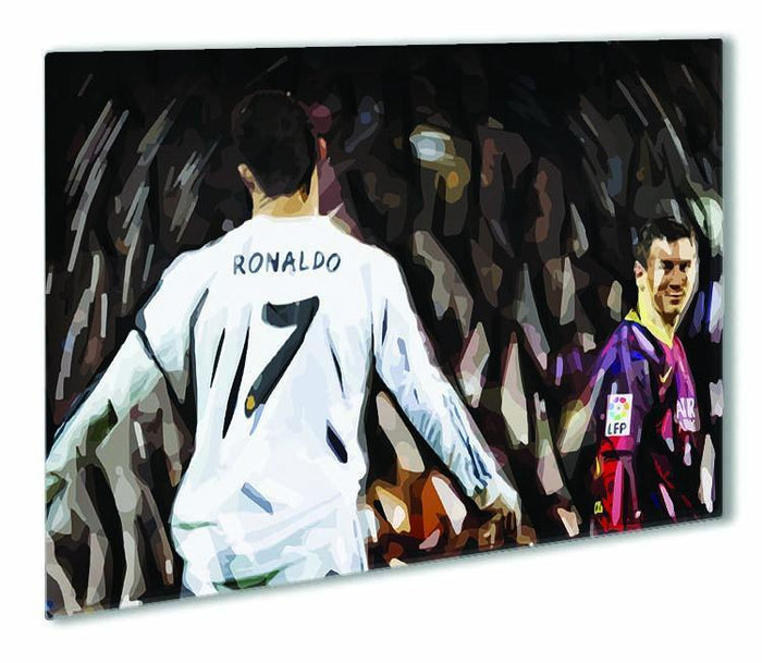 Ronaldo Vs Messi Outdoor Metal Print