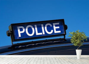 Rooftop sign on a vintage british police car Wall Mural Wallpaper - Canvas Art Rocks - 4
