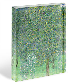 Rose bushes under the Trees by Klimt Acrylic Block - Canvas Art Rocks - 1
