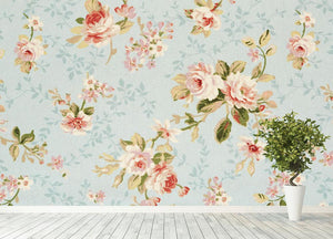 Rose floral tapestry Wall Mural Wallpaper - Canvas Art Rocks - 4