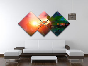 Rosebuds at sunset 4 Square Multi Panel Canvas  - Canvas Art Rocks - 3
