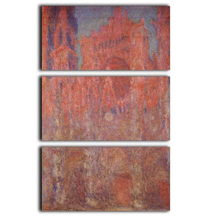 Rouen Cathedral Facade by Monet 3 Split Panel Canvas Print - Canvas Art Rocks - 1