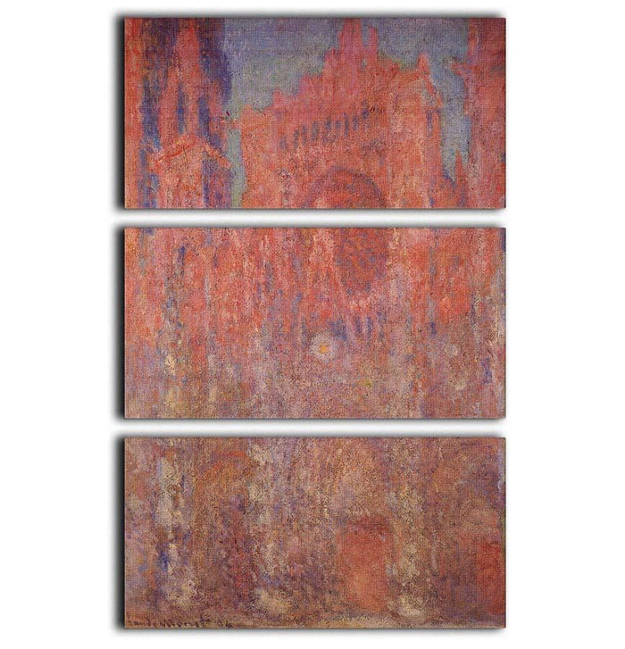 Rouen Cathedral Facade by Monet 3 Split Panel Canvas Print