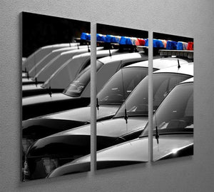 Row of Police Cars with Blue and Red Lights 3 Split Panel Canvas Print - Canvas Art Rocks - 2