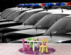 Row of Police Cars with Blue and Red Lights Wall Mural Wallpaper - Canvas Art Rocks - 3