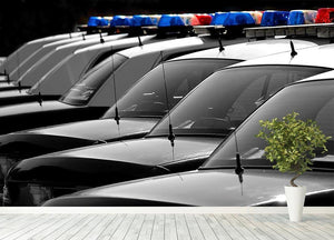 Row of Police Cars with Blue and Red Lights Wall Mural Wallpaper - Canvas Art Rocks - 4