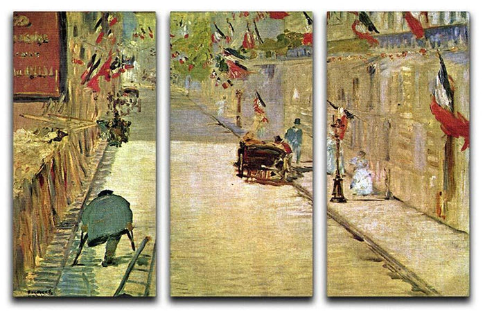 Rue Mosnier with Flags by Manet 3 Split Panel Canvas Print