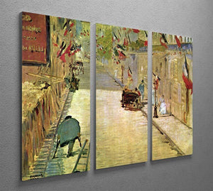 Rue Mosnier with Flags by Manet 3 Split Panel Canvas Print - Canvas Art Rocks - 2