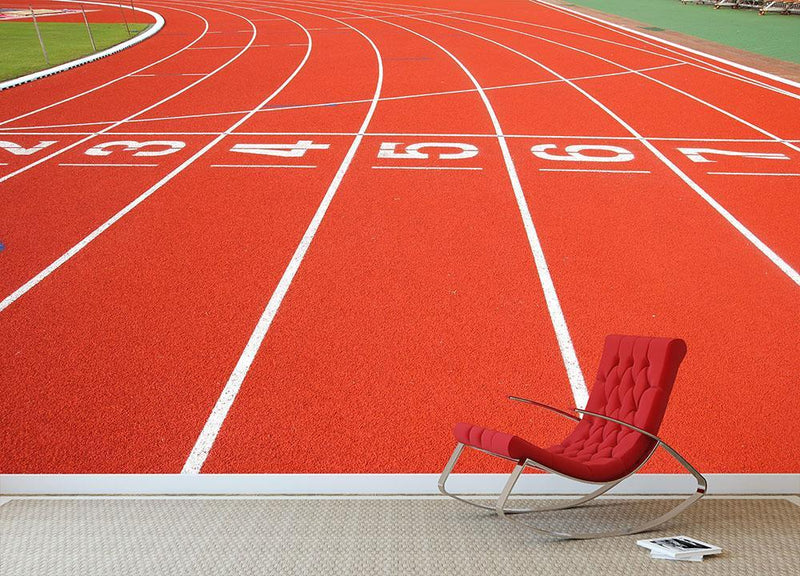 Running track Wall Mural Wallpaper - Canvas Art Rocks - 1